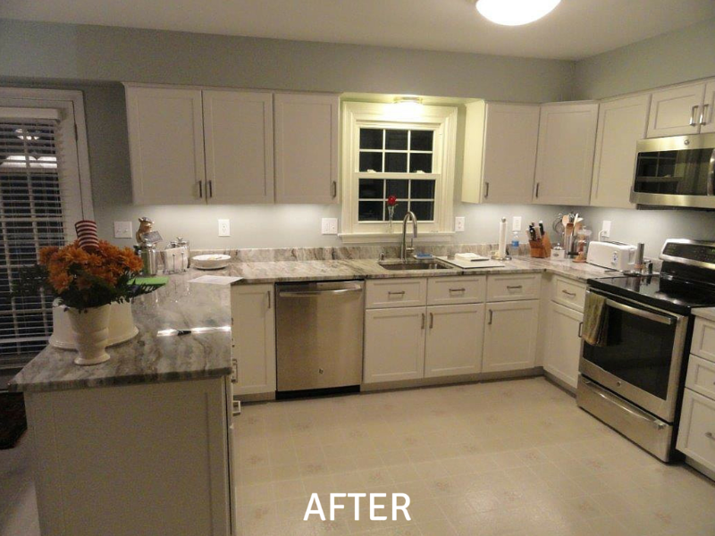 Kitchen Cabinet Resurfacing Photos - After