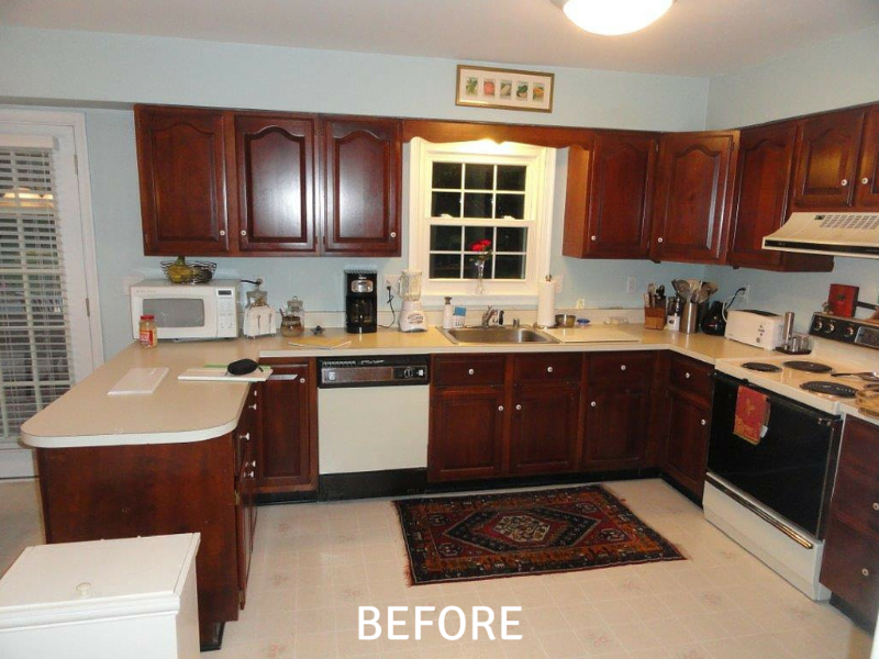 Kitchen Cabinet Resurfacing Photos - Before